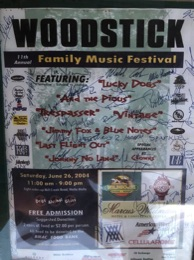 Posters advertising the Woodstick concerts